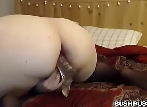 BBW whore sucks sextoy before inserting into her ass