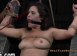 Fastened up belle acquires vicious pleasuring be proper of her pussy