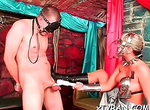 Kinky fuzz ball poppet ties coupled with tapes up thrall in hot bdsm fetish