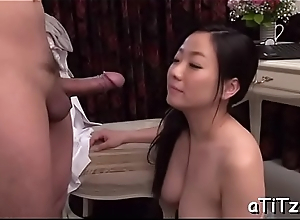 Breasty asian gives well done titty fuck and soaked fellatio