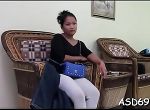 Teen become absent-minded slu provides her smooth quondam pussy to a foreign