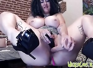 Crazy Hippie Camgirl Pounding Pussy With Fake penis
