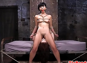 Bondage asian pussylicks take the weight while fingered