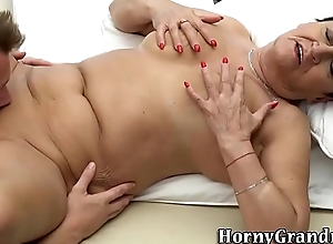 Massaged granny mouthful