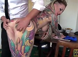 Fully tattooed subslut Piggy Brashness slammed by rough dom