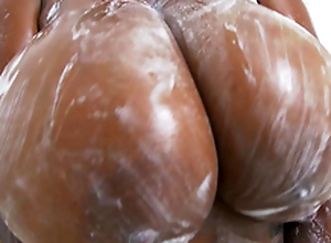 Rachel Raxxx gets say no to giant bowels all soapy and messy