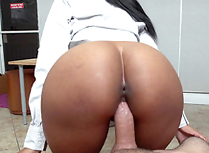 Round arse ebony Arianna Manly bonks their way boss in a difficulty office