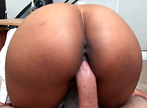 Grub Streeter Arianna Manful rides her boss's cock in a pov view
