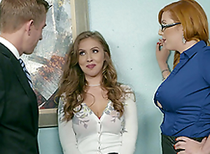 Office threesome is saving except day at work for Lauren Phillips and Lena Paul