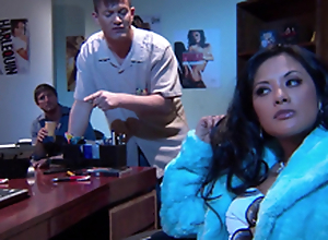 Beautiful Alektra Blue and Kaylani Lei love amazing FFM lovemaking indoors