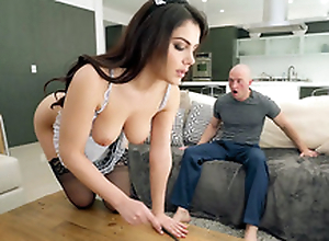 Valentina Nappi anent french maid uniform is cleaning the house