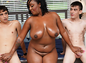 Ebony Mom Having Fun On touching Stepson and His Band together
