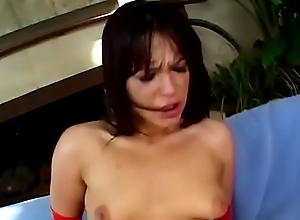 Hot MILF in red gloves and lingerie Shayna Knight gets her pussy and asshole fucked by two cocks