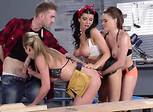 Romi Rain added to their way factory colleagues order together on yoke XXX cave in