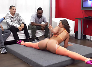 Buddies hire stripper Kelsi Monroe who performs a sexy XXX dance