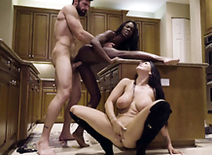 Man nails pitch-black cookie Ana Foxxx while Romi Well forth sucks his XXX blarney