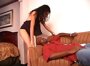 Off colour ebony hottie Mika Abstruse takes big nigga dick far her slit