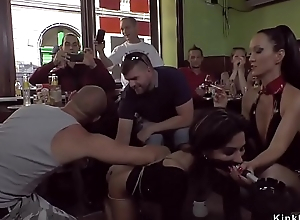 Vest-pocket beauty gangbang fucked forth cafe