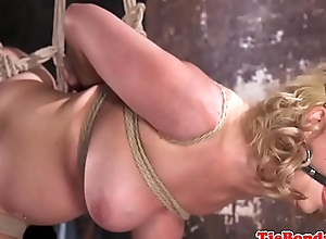 Hugetits babe dominated during bondage