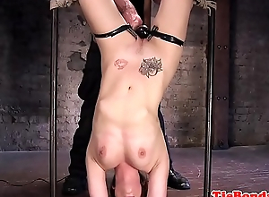 Gagging BDSM submissive acquires her pussy toyed