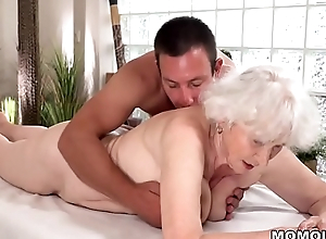 Old mom Norma enjoys sex after kneading