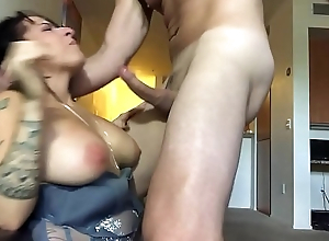 Chunky Tits MILF Face Fucked, Worships Balls, Licks Asshole, Pukes &amp_ Gets Spit On